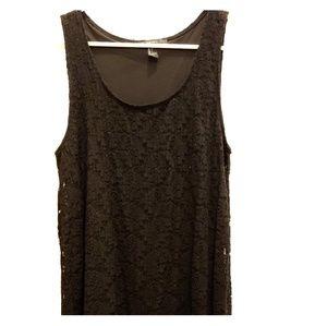 Lace overlay knee length dress